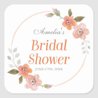 Delicate Floral Orange Bridal Shower Square Square Sticker