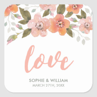 Delicate Floral Peach Wedding Love Square Sticker