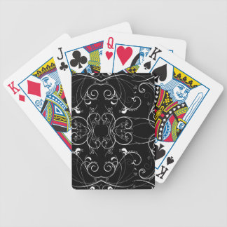 Delicate Floral Repeating Pattern in White on Blac Bicycle Playing Cards
