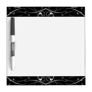 Delicate Floral Repeating Pattern in White on Blac Dry Erase Board