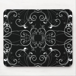 Delicate Floral Repeating Pattern in White on Blac Mouse Pad