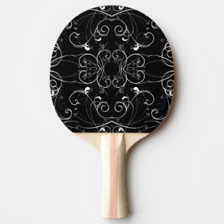 Delicate Floral Repeating Pattern in White on Blac Ping Pong Paddle