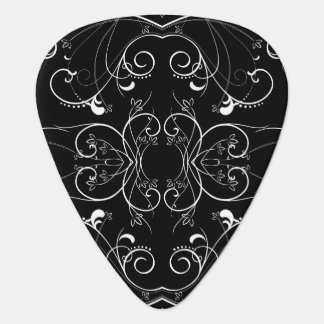 Delicate Floral Repeating Pattern in White on Blac Plectrum