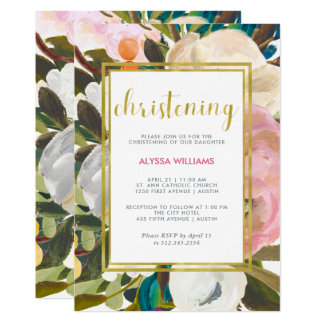 Delicate Floral Watercolor | Christening Card