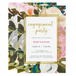 Delicate Floral Watercolor Engagement Party Card