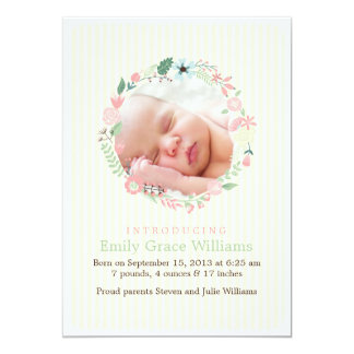 Delicate Floral Wreath Birth Announcements