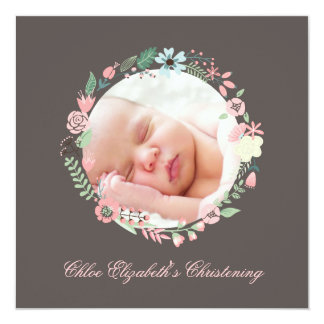 Delicate Floral Wreath Christening 13 Cm X 13 Cm Square Invitation Card