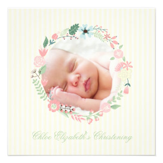 Delicate Floral Wreath Christening Personalized Announcement