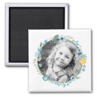 Delicate Floral Wreath Custom Photo Square Magnet