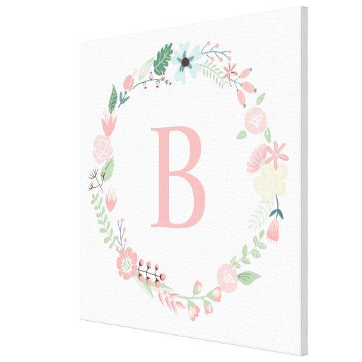 Delicate Floral Wreath Monogram Gallery Wrap Canvas
