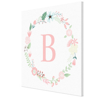 Delicate Floral Wreath Monogram Gallery Wrapped Canvas