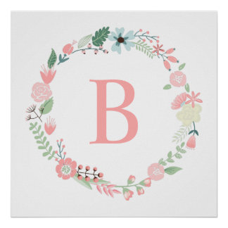 Delicate Floral Wreath Monogram Poster