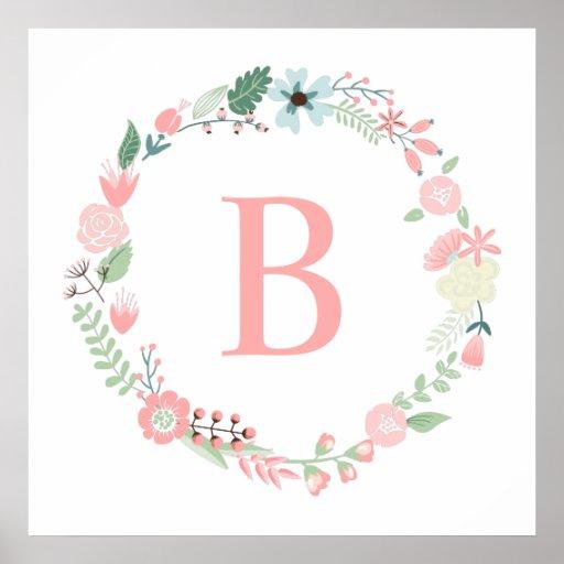 Delicate Floral Wreath Monogram Posters