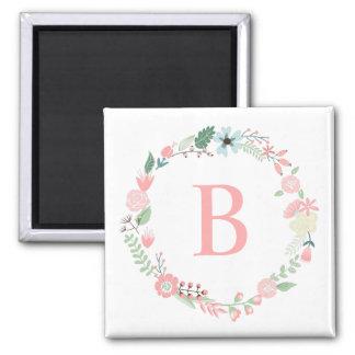Delicate Floral Wreath Monogram Square Magnet