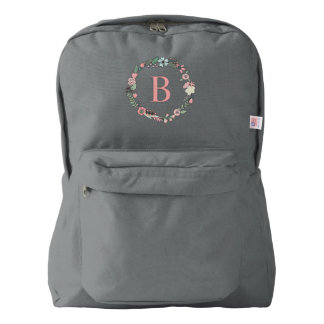 Delicate Floral Wreath Monogrammed Backpack