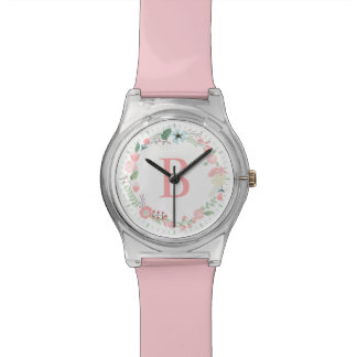 Delicate Floral Wreath Pink Monogram Wristwatch