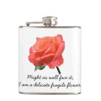 """Delicate Flower"" Rose in Full Bloom Hip Flask"