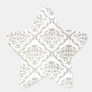 Delicate flowery damask pattern star sticker