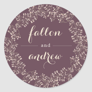 Delicate Frame | Personalized Wedding Classic Round Sticker