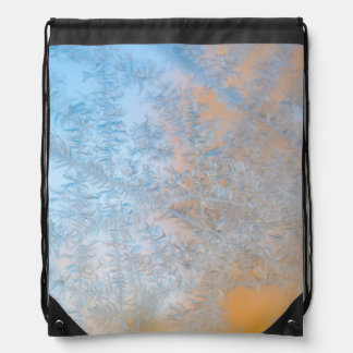 Delicate frost pattern, Wisconsin Drawstring Bag