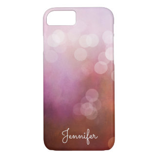 Delicate girly pink watercolor bokeh personalized iPhone 8/7 case