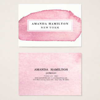 Delicate Girly Pink Watercolor wash professional Business Card
