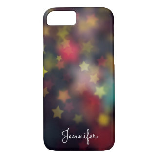 Delicate girly star gold bokeh personalized iPhone 8/7 case