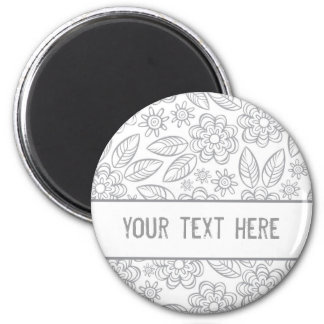 delicate gray flowers on white with your text 6 cm round magnet