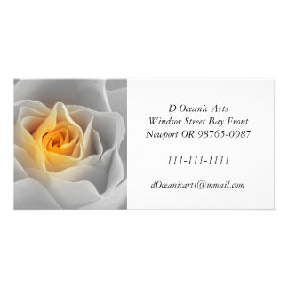 Delicate Gray Rose Personalized Photo Card