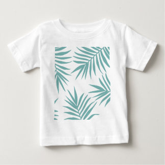 Delicate Green Tropical Leaves Pattern Baby T-Shirt