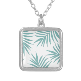 Delicate Green Tropical Leaves Pattern Silver Plated Necklace