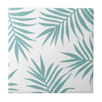 Delicate Green Tropical Leaves Pattern Tile
