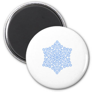 Delicate Icy Blue Winter Christmas Snowflake 6 Cm Round Magnet
