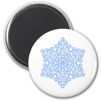 Delicate Icy Blue Winter Christmas Snowflake Refrigerator Magnets