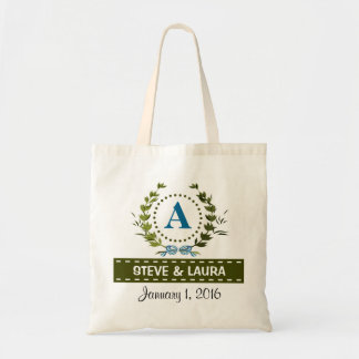 Delicate Ivy Wreath Wedding Date with Monogram A Budget Tote Bag