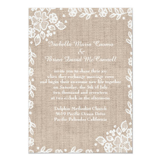 Delicate Lace Burlap Rustic Country Wedding Card