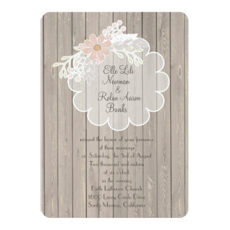 Delicate Lace Wood Rustic Country Wedding Invites