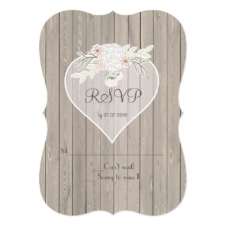 Delicate Lace Wood Rustic Country Wedding RSVP Card