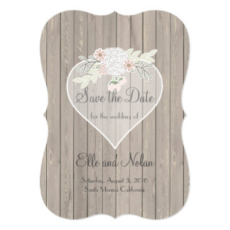 Delicate Lace Wood Rustic Wedding Save-the-Date Card