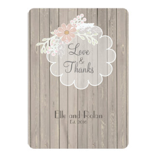 Delicate Lace/Wood Rustic Wedding Thank You 13 Cm X 18 Cm Invitation Card