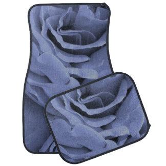 Delicate light blue gray roses flower photo car mat