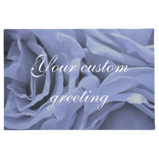 Delicate light blue gray roses flower photo doormat
