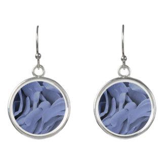Delicate light blue gray roses flower photo earrings