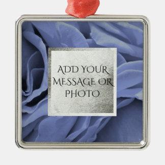 Delicate light blue gray roses flower photo metal ornament