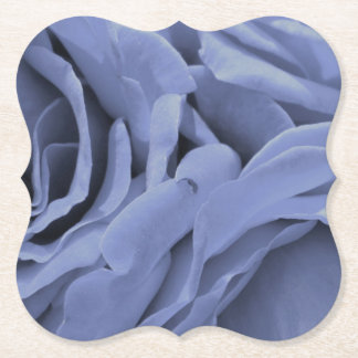 Delicate light blue gray roses flower photo paper coaster