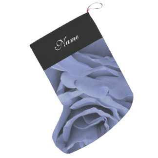 Delicate light blue gray roses flower photo small christmas stocking