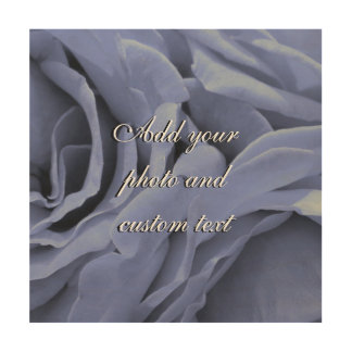 Delicate light blue gray roses flower photo wood wall decor