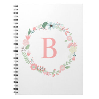 Delicate Monogrammed Floral Wreath Notebooks