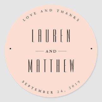 Delicate Peach Wedding Classic Round Sticker