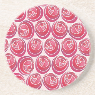 Delicate Pink and White Art Nouveau Roses Pattern Coaster